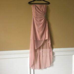 Pink Strapless High-Low Dress